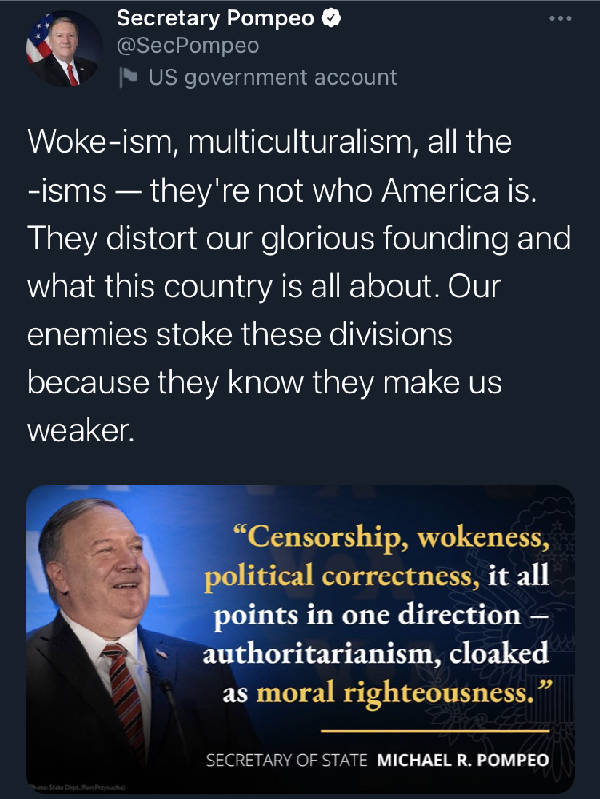 Mike Pompeo on multiculturalism.